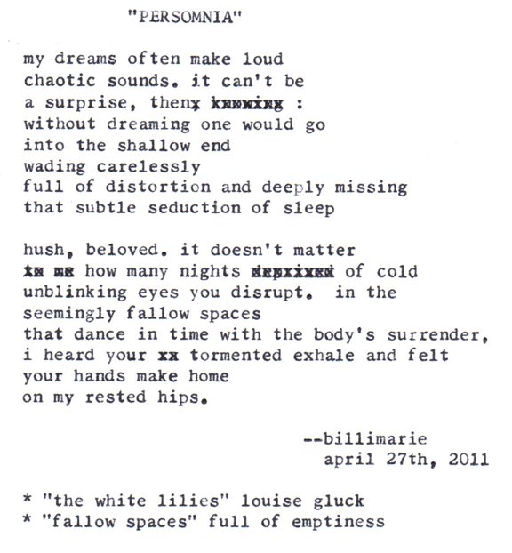 """Persomnia"" by billimarie typewriter poetry"