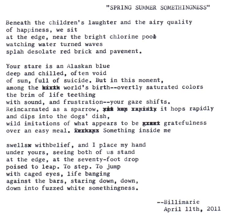 """Spring Summer Somethingness"" by billimarie typewriter poetry"