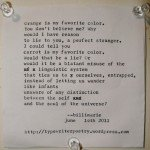 """Orange"" by billimarie typewriter poetry"