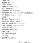 """On Leaving"" by billimarie typewriter poetry"
