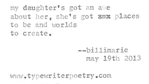 """Daughter"" billimarie typewriter poetry"
