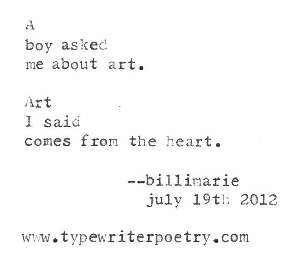 """As We Peel Back The Layers Of The Artist's Anticipated Level Of Engagement, We Find Numerous Sources Of Radical, Inclusionary, Destructive Creation Visions Constructed In Such A Manner That One Would Have To Lack All Sensation In Order To Dehumanize This Rendition Of Our Given Subjective Realities"" typewriter poetry by billimarie"