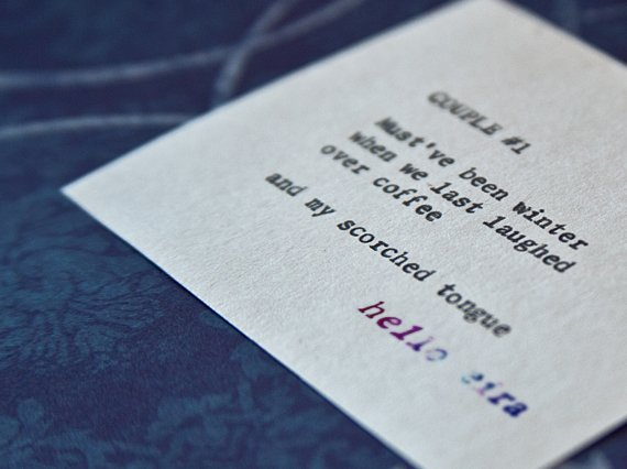 "Etsy Typewriter Poetry Poem ""Couple #1."" Dutch angle against midnight blue and white baroque card stock."