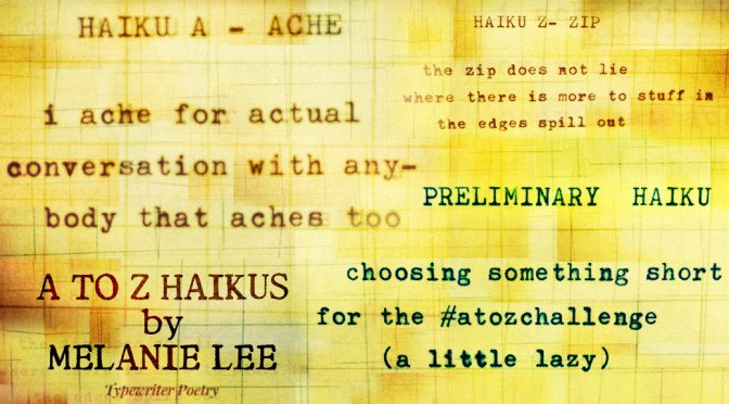 Photomanipulation of graph paper and typewriter poetry by billimarie for the feature on Melanie Lee's A to Z Challenge Haiku series.